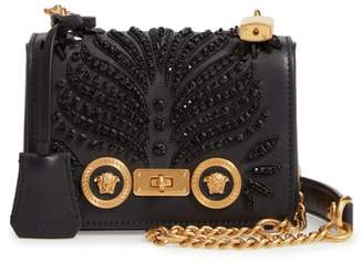 Versace Small Icon Crystal Embellished Leather Crossbody Bag