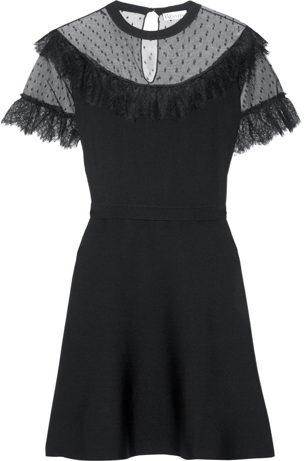 RED ValentinoREDValentino Lace and point d'esprit-paneled stretch-knit mini dress