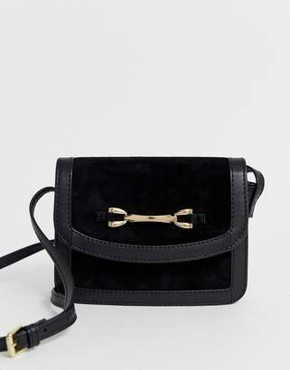 Asos Design DESIGN suede and leather mix cross body bag with snaffle