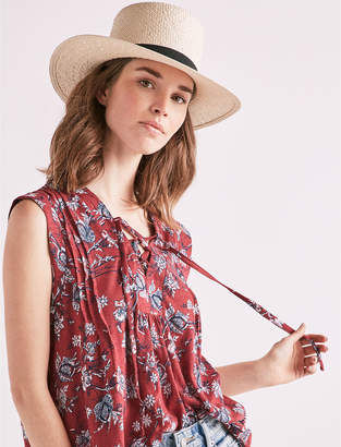 Lucky Brand Lace Up Printed Top
