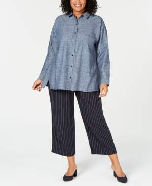 bff49998014f1 Eileen Fisher Plus Size Chambray Notched-Hem Blouse