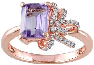 Laura Ashley Sterling Silver Rose de France Amethyst & 1/10 Carat T.W. Diamond Bow Ring $700 thestylecure.com
