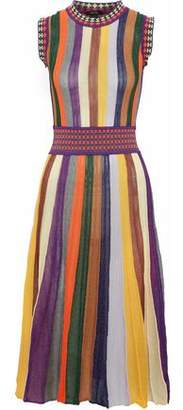 Raoul Striped Ribbed Cotton-Blend Midi Dress