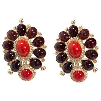 Chanel Red Metal Earrings