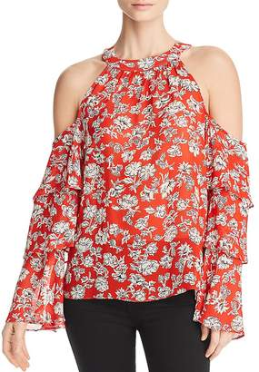 Red Haute Tiered-Sleeve Cold-Shoulder Top