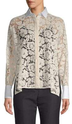 Valentino Floral Lace Button-Down Shirt