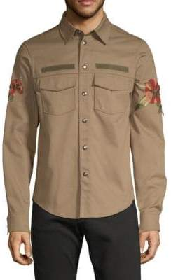 Valentino Graphic Tropical Cotton Button-Down Shirt