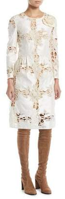 Brock Collection Donovan Jewel-Neck Long-Sleeve Floral Lace A-Line Dress
