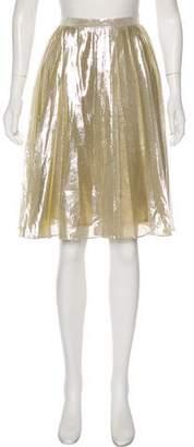 Oscar de la Renta Silk Metallic Skirt