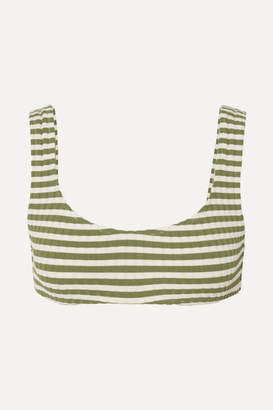 Solid & Striped The Elle Striped Ribbed Stretch Bikini Top