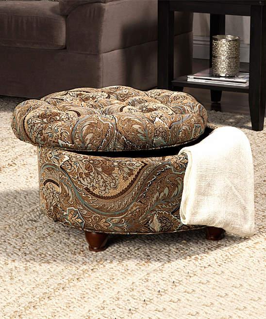 Brown Paisley Tufted Storage Ottoman