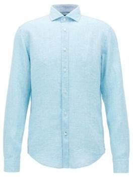 BOSS Hugo Slub Linen Sport Shirt, Slim Fit Ridley L Light Blue