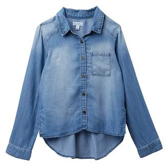 Love, Fire Chambray Long Sleeve Button Up (Big Girls)