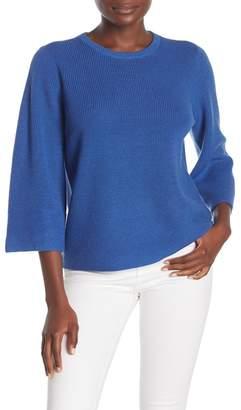 Eileen Fisher Solid 3/4 Sleeve Merino Wool Sweater (Petite)