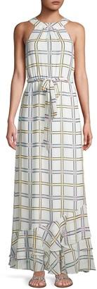 Calvin Klein Collection Self-Tie Grid-Print Maxi Dress