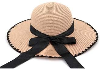 a68f0f285ed02 Vim Tree Womens Big Bowknot Floppy Straw Sun Hat Wide Brim Foldable Beach  Cap