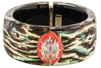 Alexis Bittar Lucite & Crystal Wide Hinged Bangle