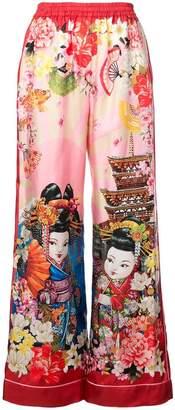 Dolce & Gabbana geisha print palazzo trousers