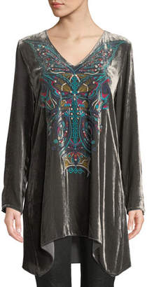 Johnny Was Aurelia Velvet Embroidered Tunic, Petite
