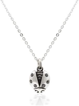 "Lee Renee Ladybird Black Diamond Necklace (Wings Open) "" Silver"