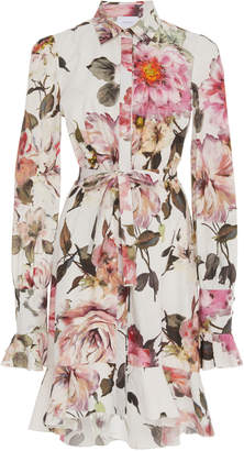Marchesa Floral-Printed Cotton High-Low Mini Shirt Dress