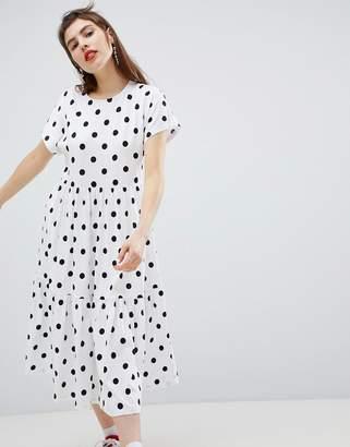 Monki Polka Dot Tiered Midi Dress