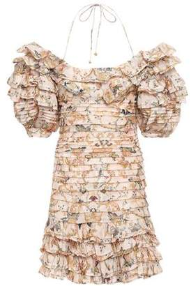 Zimmermann Off-the-shoulder Tiered Printed Linen And Silk-blend Mini Dress