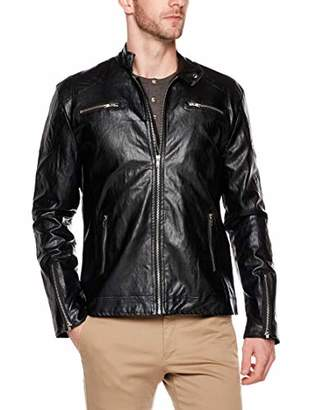 AUSTIN MILL Men's Classic Stand Collar Motorcyle Faux Leather Jacket