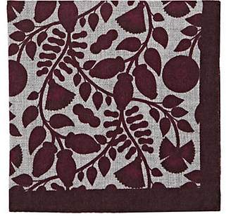 Barneys New York Men's Leaf-Print Wool Pocket Square - Red