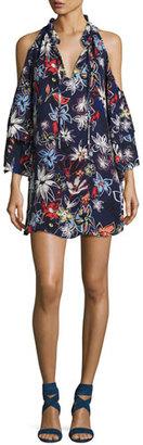Parker Anastasia Cold-Shoulder Shift Dress, Floral Print $298 thestylecure.com