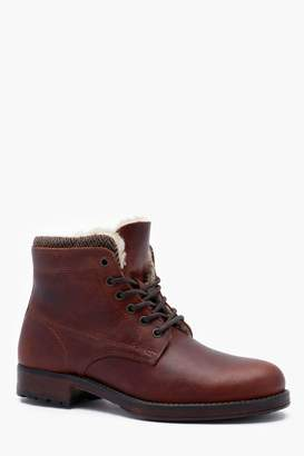 boohoo Waxy Leather Lace Up Boot
