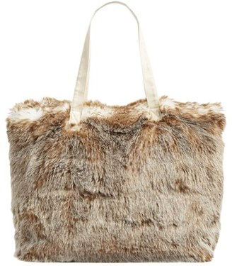 Nordstrom At Home Cuddle Up Faux Fur Tote - Ivory $69 thestylecure.com