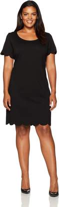 Tiana B T I A N A B. Women's Plus Size Scallop Short Sleeve Sheath Dress