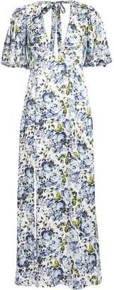Les Reveries Deep V Floral Maxi Dress