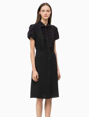 Calvin Klein crepe ruffle tie-neck dress