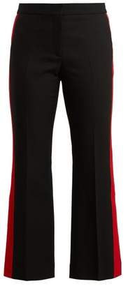 Alexander McQueen Kickback Wool Blend Cropped Trousers - Womens - Black