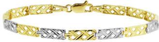 FINE JEWELRY 10K Two Tone Gold 7.5 Inch Semisolid Braid Chain Bracelet