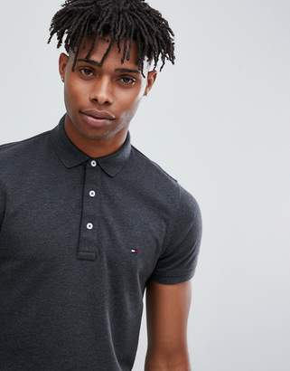 Tommy Hilfiger Icon flag logo slim fit pique polo in charcoal marl