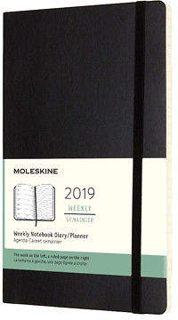 Moleskine NEW 2019 Weekly Diary Soft Cover Black Large