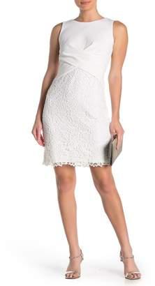 Taylor Crepe Twist Front Lace Sheath Dress