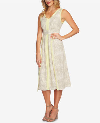 CeCe Mixed-Media Fit & Flare Dress