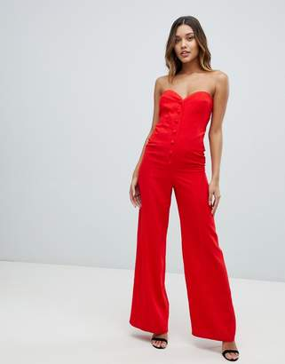 Asos (エイソス) - ASOS DESIGN bandeau sweetheart jumpsuit with button & buckle detail