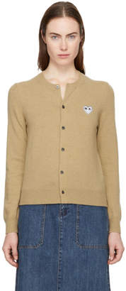 Comme des Garcons Tan and Black Heart Patch Cardigan