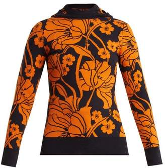 Joostricot - Floral Intarsia Cotton Blend Hooded Sweater - Womens - Orange Multi