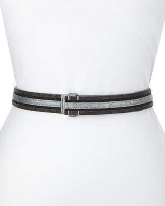 Brunello Cucinelli Metallic Leather Tubular Monili Belt