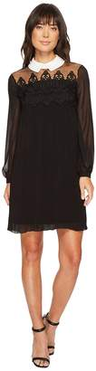 CeCe Swiss Dot Yoke Knife Pleat Dress w/ Collar Women's Dress