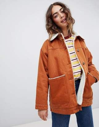 Monki Borg Denim Trucker Jacket In Brown