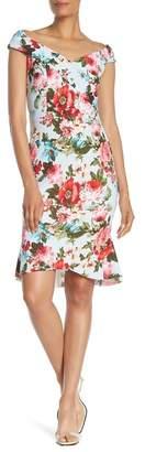 Bebe Off the Shoulder Ruffle Hem Dress