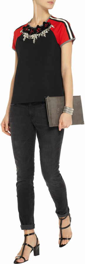 Current/Elliott The Ankle Skinny faded mid-rise jeans