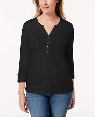 Karen Scott Cotton Patch-Pocket Henley Top, Created for Macy's